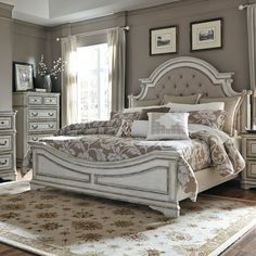 Bring the refined charm of the French country to your bedroom with the Magnolia Manor 5 Piece Bedroom Set from the Magnolia Manor Bedroom Collection by Liberty Furniture. Includes queen bed, dresser…More Bedroom Furniture Sets, Home Furniture, Bedroom Decor, Furniture Online, Furniture Outlet, Coaster Furniture, Cheap Furniture, Bedroom Retreat, Furniture Ideas