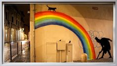Rainbow urban art graffiti artist Kenny Random KR street art Italy Padua PADOVA - vicolo Dotto