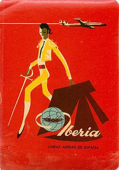 Lineas Aereas ~IBERIA / SPAIN~ ABSTRACT BULLFIGHTER Airline Luggage Label, 1955