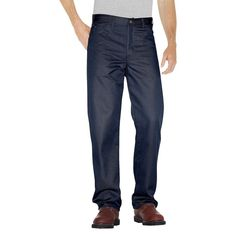 Dickies Big & Tall Regular Straight Fit Twill 5- Pocket StayDark Work Pant- Dark Navy 44X32