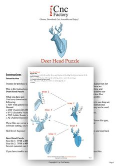 DEER HEAD 3D PUZZLE - Template cutting file - faux taxidermy - laser, wall art…
