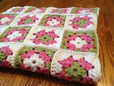 Granny Square Baby Crochet Blanket Pink,White, Green. $40.00, via Etsy.