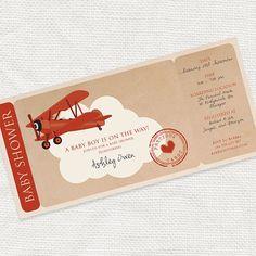 precious cargo baby shower boarding pass invitation by iDIYjr, $15.00