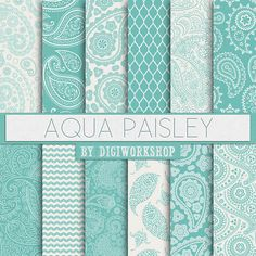 "Paisley Digital Paper: ""Aqua Paisley"" paisley digital patterns in aqua blue colors for scrapbooking and collages"