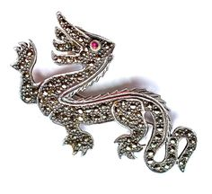 """Vintage Marcasite Ruby Dragon Brooch Jewelry Sterling Game of Thrones Magical Fire Breathing Mythical Creature 1.92"""" x .1"""""""