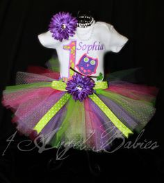 Look Whoos 3 Piece Owl Lime, Purple, and Pink Girls Birthday Party Glitter Tutu Outfit  Pick your size, Colors, and Number via Etsy