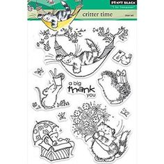 Penny Black Clear Stamps, 5 inch x inch Sheet, Critter Time, Multicolor Penny Black Karten, Penny Black Cards, Ink Stamps, Craft Stamps, Simon Says Stamp, Arts And Crafts Supplies, Pennies, Digital Stamps, Clear Stamps