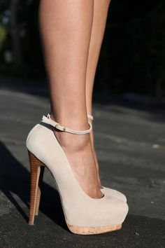 nude suede mary jane stilettos!