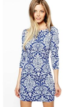 LUCLUC Floral printed Scoop Mini Bodycon Dress Sexy Dresses c9e4a0d259981