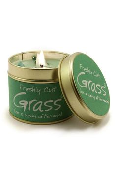 Cut Grass ... on a Summer Afternoon. This scent is for some reason very popular with men. Clean light and very realistic.  Burn Time 35 hours. Dimensions 7.7 x 6.6cm  Grass Scented Candle by Pink Poodle Boutique. Home & Gifts - Home Decor - Candles & Scents Glasgow Scotland United Kingdom