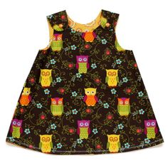 Reversible dress(sunny owls) 18-24 months
