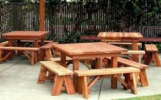hand made picnic tables - really like this picnic table idea.