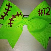 Softball Bow w/ Number and @Denise H. H. grant Graham!