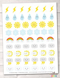 Weather Printable Planner Stickers – Instant Download PDF for your Erin Condren Life Planner