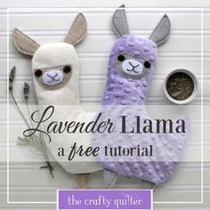 Lavender Llama tutorial from The Crafty Quilter. This llama is filled with rice and dried lavender that you can microwave for warm comfort or freeze for cool relaxation. Sewing Hacks, Sewing Tutorials, Sewing Crafts, Sewing Tips, Tutorial Sewing, Fabric Crafts, Fabric Pen, Minky Fabric, Sewing Patterns Free