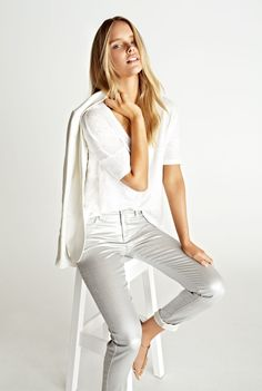 White with silver jeans: Country Road Woman