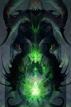 Felheart Necromancer - A gallery-quality illustration art print by Aaron Nakahara for sale. Dark Fantasy Art, Fantasy Artwork, Dark Art, Dark Creatures, Fantasy Creatures, Mythical Creatures, Fantasy Monster, Monster Art, Fantasy Character Design