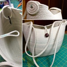 Rope Tote: coiled cotton & sewn in sage green zig-zag stitch. By Andrea Rope Basket, Basket Bag, Basket Weaving, Rope Rug, Fabric Bowls, Fabric Handbags, Rope Crafts, Handbag Patterns, Clothes Line