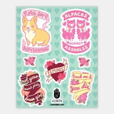Feminine Feminist Stickers | Stickers, Sticker Sheets and Vinyl Stickers | HUMAN