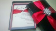 Boxed Brooch Wedding Invitation (Custom box, brooch and ribbon colors available)