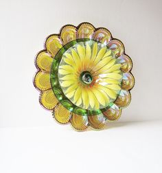 Colorful Glass Garden Art Yard Decor Egg Plate Flower Vintage