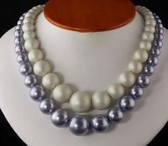 Vintage 2 Strand Lavender & White Adjustable by chapelgateroad, $14.99