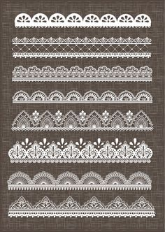 Clip Art Lace Border, Lace Borders Clipart Pack with Digital Lace Border for Scrapbooking, Invitations - EPSV Vector EPSG and Photohshop Brushes Lace Drawing, Mandala Drawing, Lace Patterns, Embroidery Patterns, Dotwork Tattoo Mandala, Stylo Art, Silkscreen, Marquesan Tattoos, Lace Tattoo