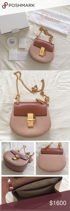 """Chloe leather powder beige brown Small Drew Bag 100% Authentic. Beige and light brown Chloé leather Small Drew bag with tonal stitching, gold-tone hardware, suede lining, flat pocket at interior and peg-in-hole flap closure at front. Includes box, dust bag and tags. Condition: Very Good. Light scuffs throughout; small scratches at hardware; minor wear at interior. Measurements: Shoulder Strap Drop 21.5"""", Height 7"""", Width 7.75"""", Depth 2"""" Chloe Bags Crossbody Bags"""