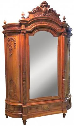 HONORE DUFIN FRENCH CARVED MIRROR DOOR ARMOIRE : Lot 259