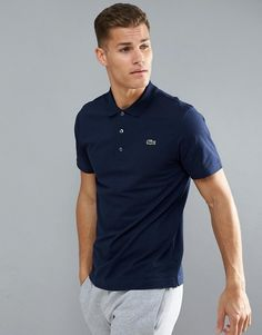 Lacoste Sport Textured Ribbed Polo Shirt in Navy