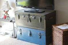 Use old trunks as a TV stand. I got these vintage trunks from my elderly neighbor.