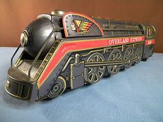 VINTAGE TIN TOY 1950 's OVERLAND EXPRESS 3140 Battery Operated TRAIN Engine...