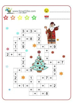Activities For 5 Year Olds, Christmas Activities For Kids, Math For Kids, Addition And Subtraction Practice, Math Addition, Alphabet Activities, Preschool Activities, Mental Maths Worksheets, Teaching Shapes