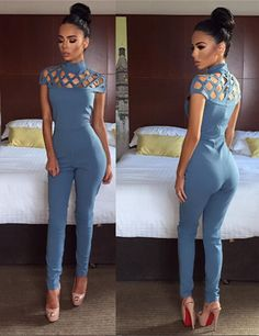 Sexy O-Neck Short Sleeve Jumpsuit