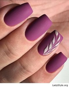 A manicure is a cosmetic elegance therapy for the finger nails and hands. A manicure could deal with just the hands, just the nails, or Nail Art Violet, Purple Nail Art, Red Nail Art, Purple Nail Designs, Nail Art Designs, Nails Design, Pedicure Designs, Matte Purple Nails, Matte Nail Art