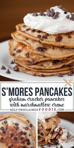 Start your morning off with a sinful treat of S'mores Pancakes made from graham cracker chocolate chip pancakes topped with homemade marshmallow creme. #pancakes #smores #grahamcrackers #chocolatechips #marshmallow #recipe Smores Dessert, Dessert Dips, Tiramisu Dessert, Dessert Recipes, Fudge Recipes, Steak Recipes, Candy Recipes, Shrimp Recipes, Salmon Recipes