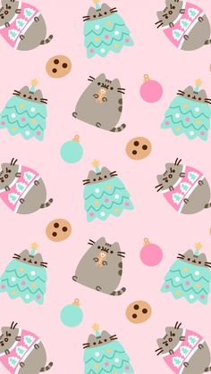 FREE Exclusive Pusheen Android and iPhone® Christmas Wallpapers - #ClairesBlog Funny Christmas Wallpaper, Xmas Wallpaper, Winter Wallpaper, Trendy Wallpaper, Kawaii Wallpaper, Wallpaper Backgrounds, Iphone Backgrounds, Wallpaper Ideas, Wallpapers Android