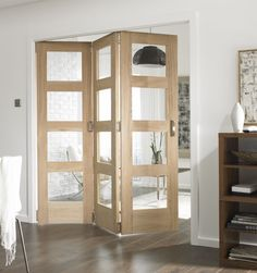 B&Q 3 Door Room Divider - 4 Light Glazed Oak 183cm (W)