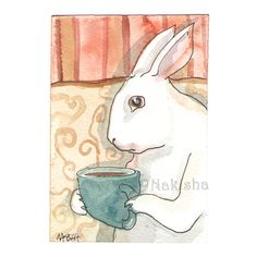 Not Before my First Cup   Original Watercolor Rabbit ACEO by Nakisha