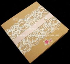 Victoria Lace Wedding Invitations  featuring nude ribbon and the Faux Pearl. Glamour, lace weddings by www.tangodesign.com.au