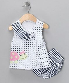 Rumble Tumble White Polka Dot Ladybug Wrap Dress & Diaper Cover - Infant by Rumble Tumble Baby Girl Frocks, Little Girl Dresses, Baby Girl Frock Design, Baby Frocks Designs, Baby Sewing, Fashion Kids, Kids Wear, Baby Dress, Kids Outfits