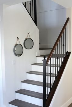 Want to transform your stairs from dingy carpet to beautiful hardwood? Check out our staircase makeover with dark treads and white risers.