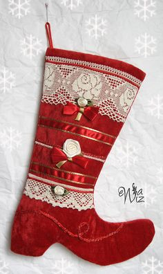Christmas stocking hand made vintage victorian by Velvettime