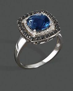 Diamond, Black Diamond And London Blue Topaz Ring In 14K White Gold | Bloomingdale's