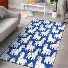 Alpaca Print Pattern Home Decor Rectangle Area Rug Trendy Colors, Vivid Colors, Rectangle Area, Great Housewarming Gifts, Rugs On Carpet, House Warming, Indoor Outdoor, Weave, Print Patterns