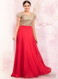 Design and pattern will be on the peak of your beauty once you attire this sonorous red faux georgette floor length gown. This beautiful attire is showing some extraordinary embroidery done with beads...