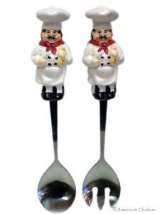 Ceramic Fat French Chef Salad Fork & Spoon Server Set by American Chateau. $14.99. Salad Server Set. Made from Ceramic & Stainless Steel. Fat French Chef Design. Handpainted Ceramic. No Fat Chef theme décor would be complete without these servers! They are both practical and decorative. The Fat French Chef figure is made of high quality ceramic with a glazed, glossy finish. Each detail on the chef figure is hand painted. The spoon and fork portion are made of stainless ...