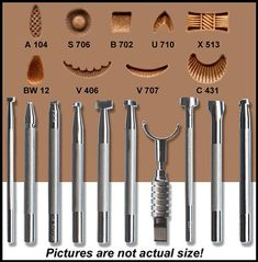 Springfield Leather Company's Basic 9 Stamping Tool Set Today Pin is part of Leather carving - Springfield Leather Company's Basic 9 Stamping Tool Set Springfield Leather Company's Basic 9 Stamping Tool Set Leather Working Tools, Leather Craft Tools, Leather Projects, Leather Crafts, Wood Working, Leather Stamps, Leather Art, Leather Jewelry, Sewing Leather