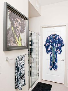 Hilari Younger's Design Portfolio : Design Star : Home & Garden Television  Cute idea to hang a colorful robe as decoration!