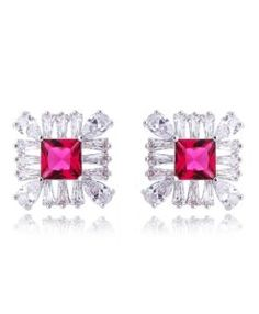 brinco da moda prata com zirconia rubi e banho de rodio semi joias de luxo online